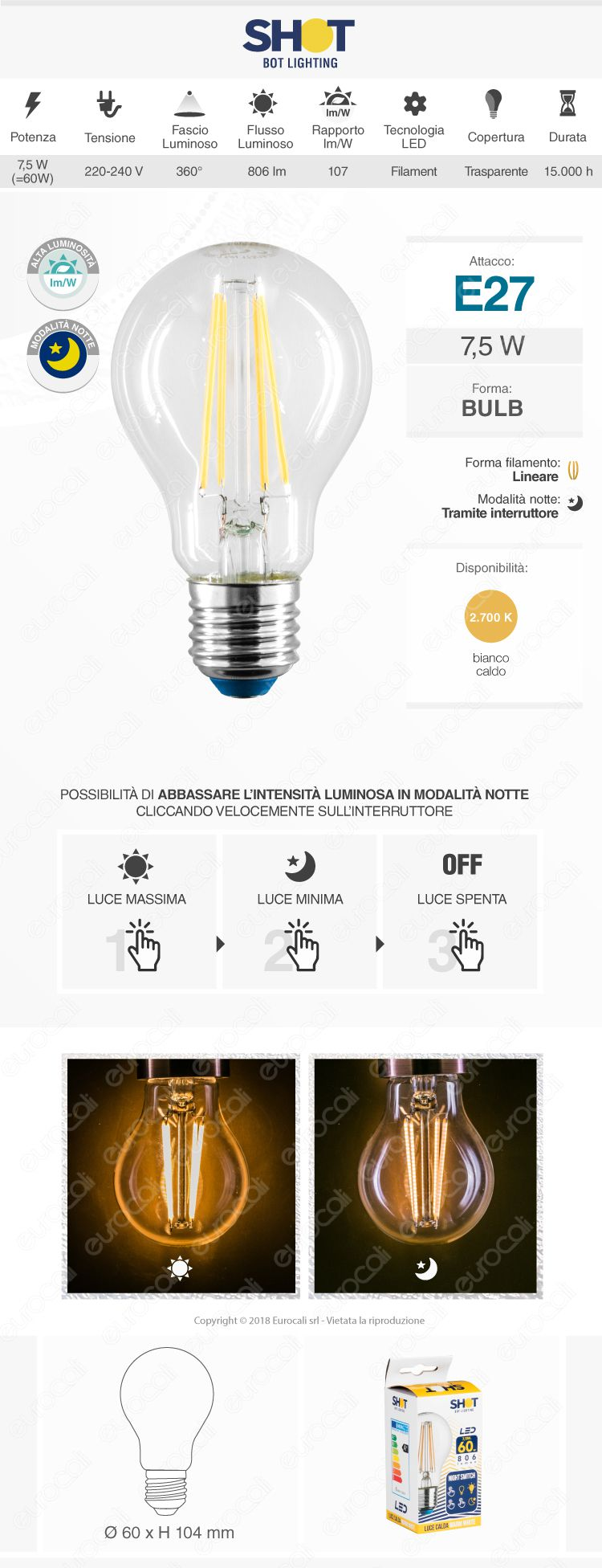 Bot Lighting lampadina LED E27