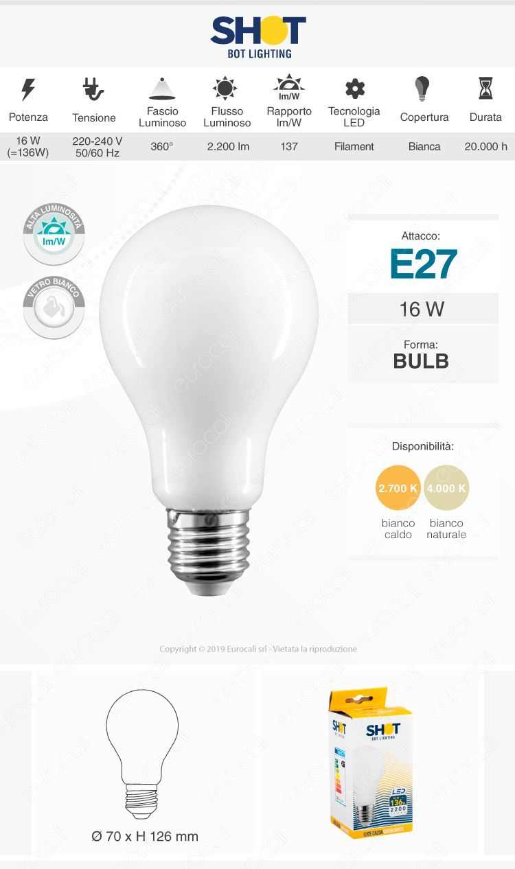Bot Lighting Lampadina LED E27 16W Bulb A70 Milky Filamento