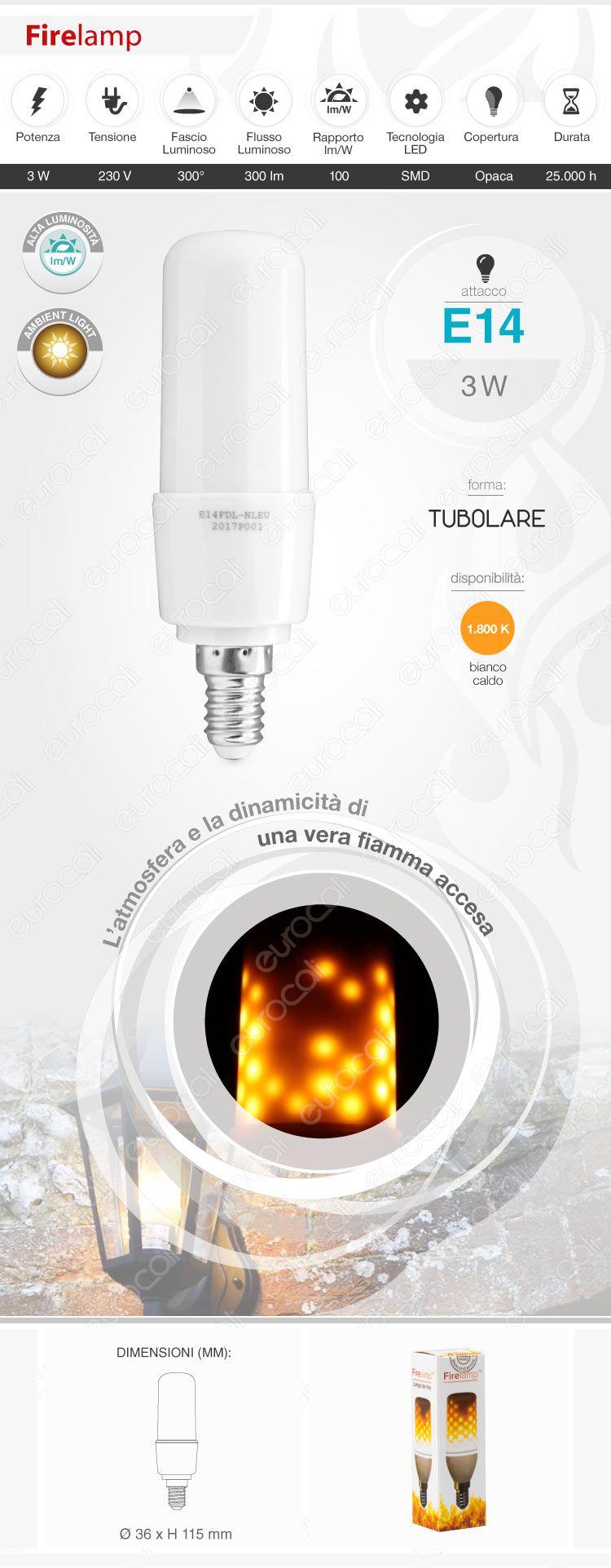 Lampadina LED Bulb Firelamp E14