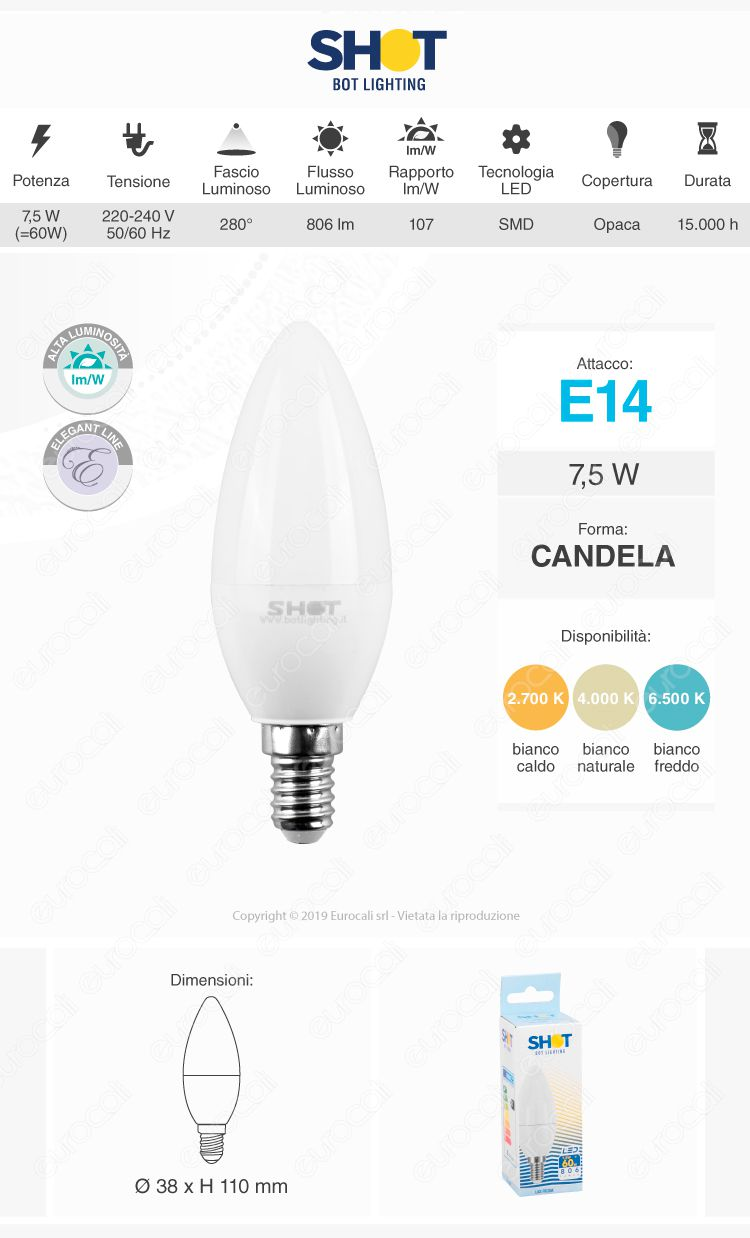 Bot Lighting lampadina LED E14