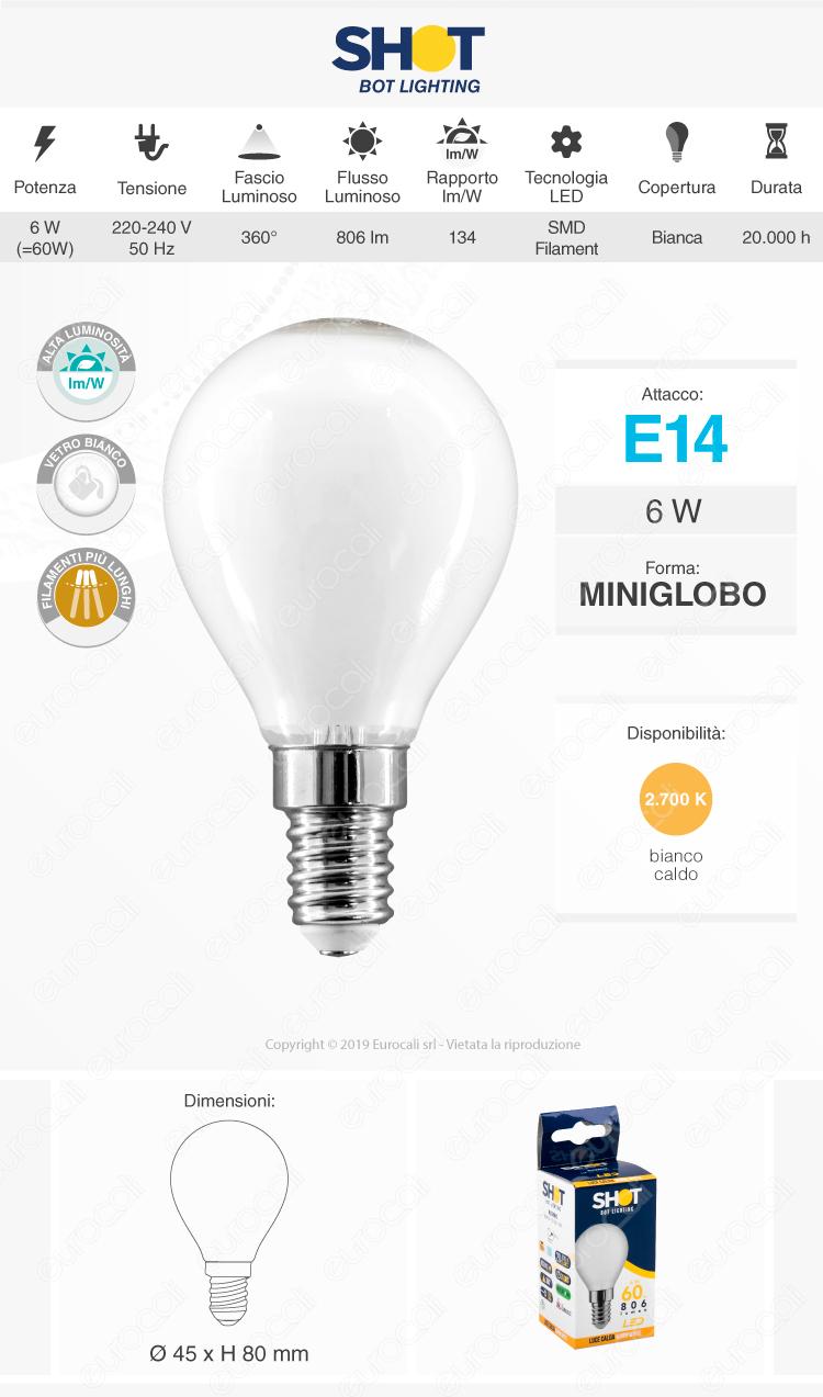 Bot Lighting Lampadina LED E14 6W MiniGlobo P45 Milky Filamento Extra-Lungo