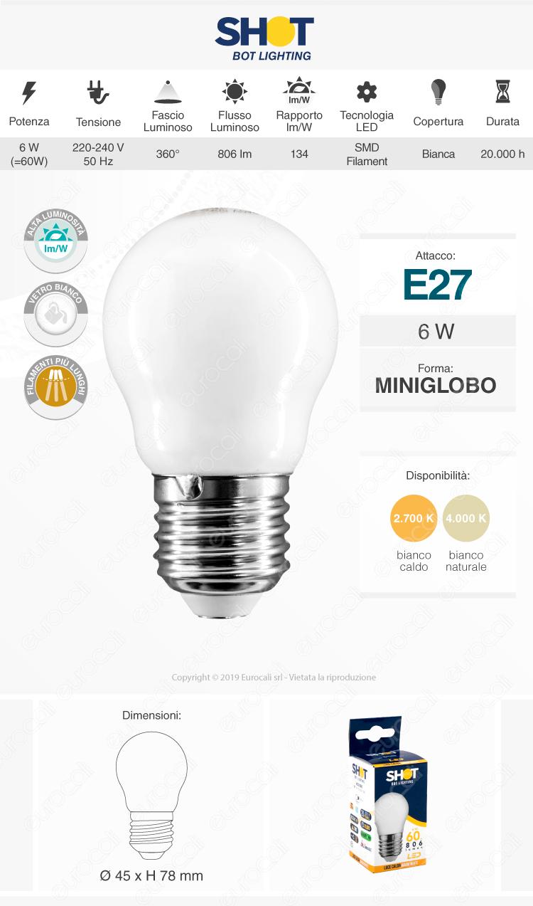 Bot Lighting Lampadina LED E27 6W MiniGlobo G45 Milky Filamento Extra-Lungo
