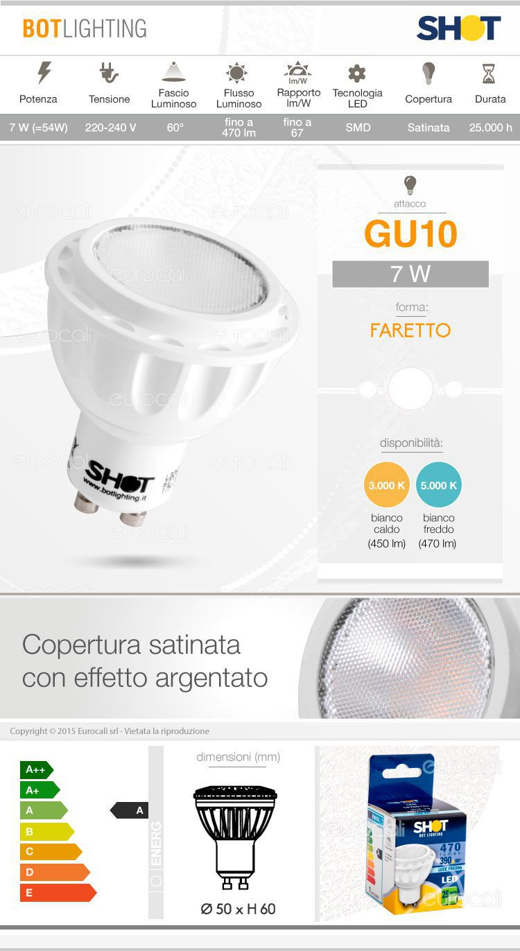 Lampadina led gu10 7w bot lighting shot faretto spotlight for Shot bot lighting