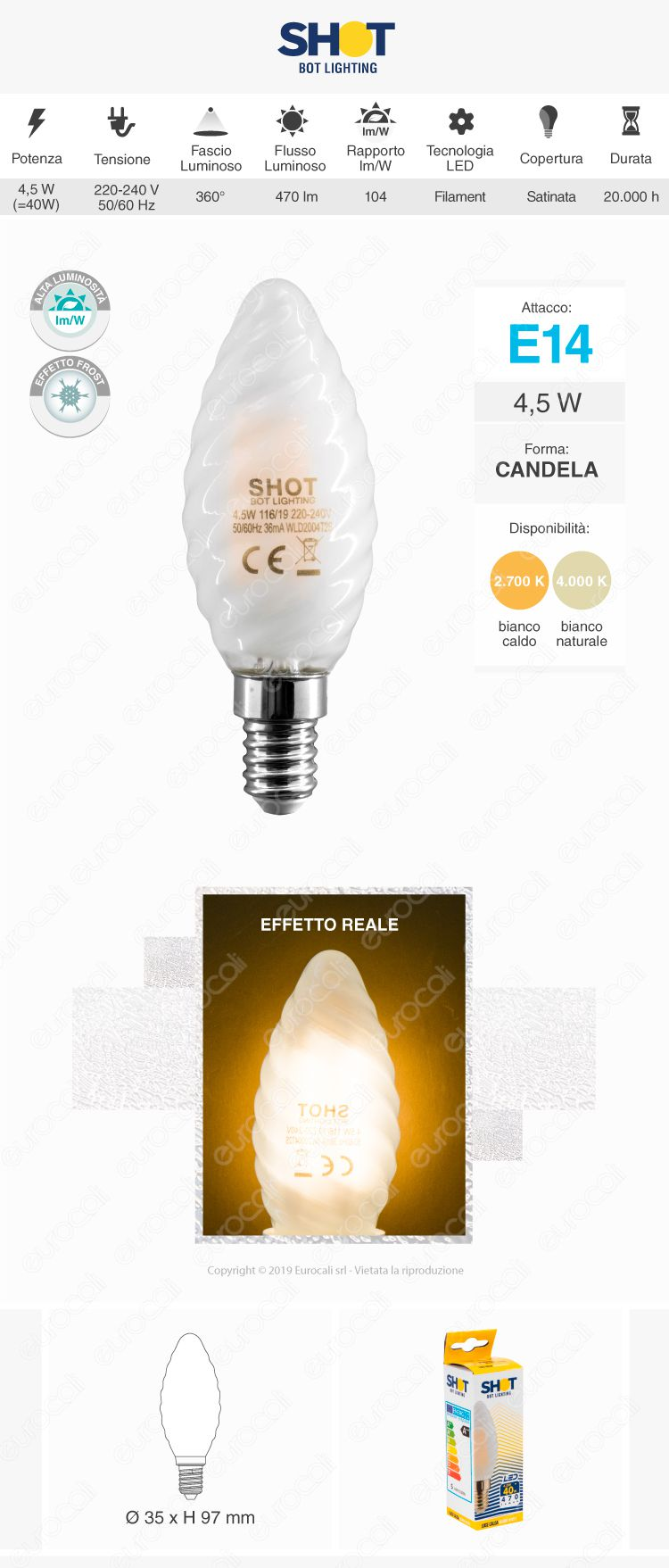Bot Lighting Shot Lampadina LED E14 Filament Candela Twist