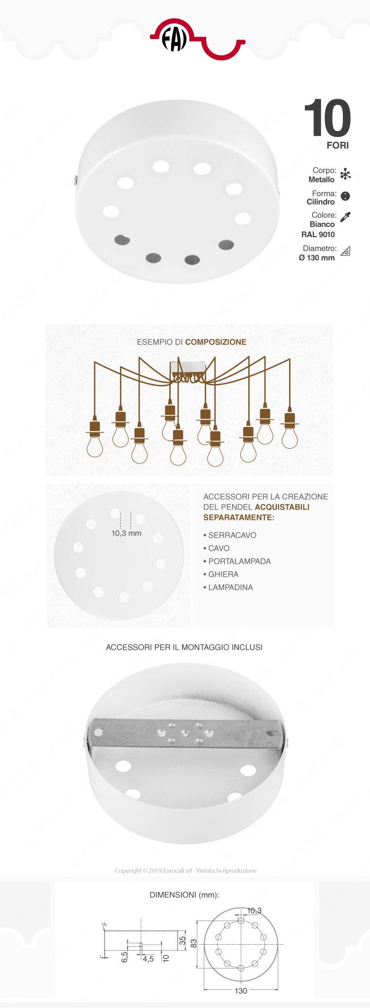 FAI Rosone Cilindrico in Metallo 10 Fori Colore Bianco Lucido -