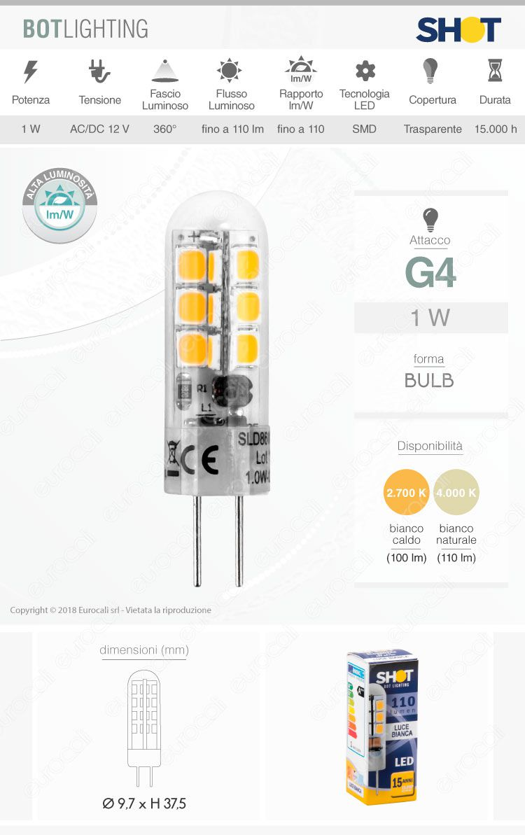 Bot Lighting Lampadina LED G4