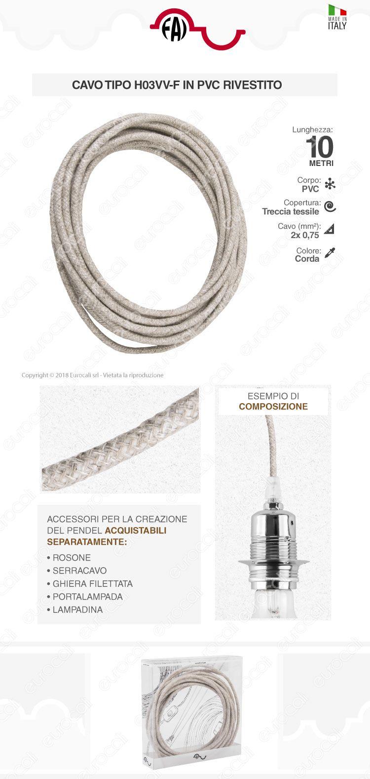 FAI Cavo di Collegamento Elettrico in Corda per Lampade di Design