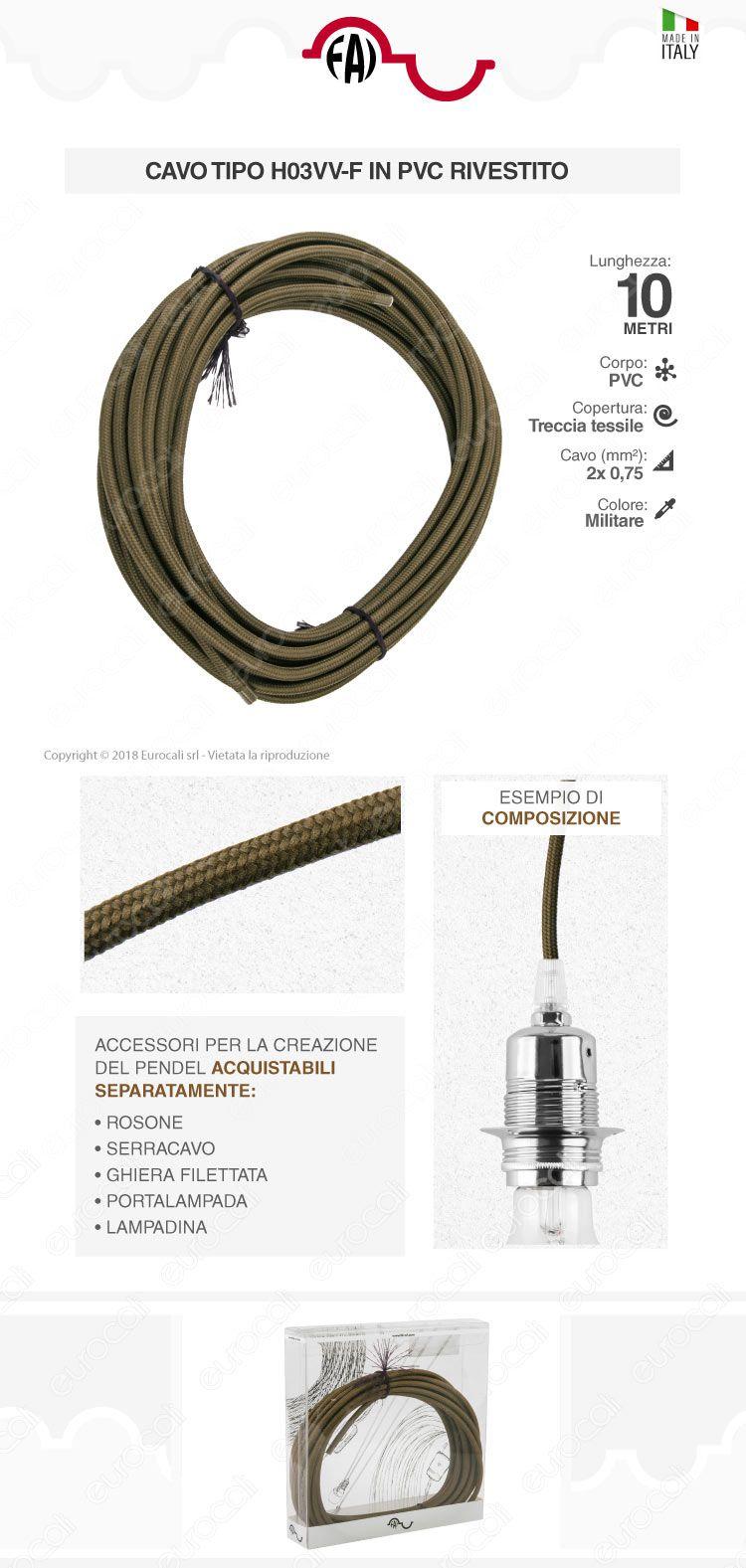 FAI Cavo di Collegamento Elettrico in Corda per Lampade di Design Colore Militare