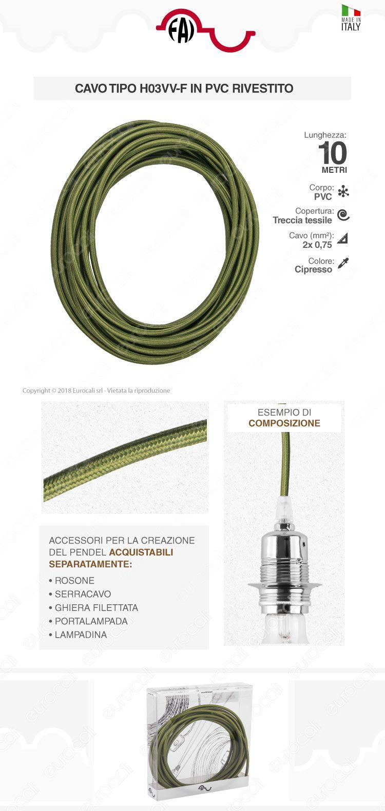 FAI Cavo di Collegamento Elettrico in Corda per Lampade di Design Colore cipresso