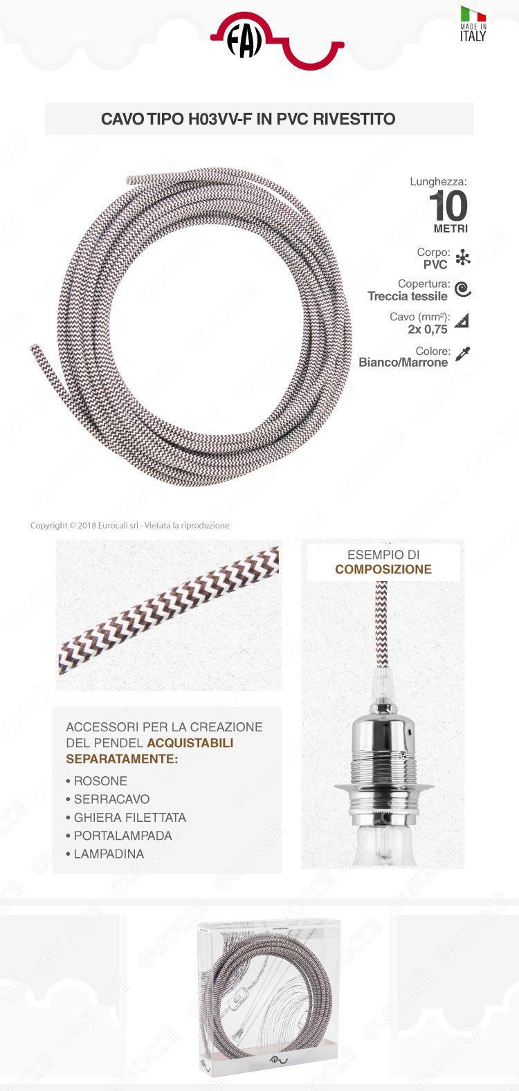 FAI Cavo di Collegamento Elettrico in Corda per Lampade di Design Colore Bianco e Marrone