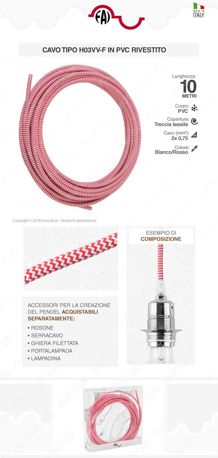 FAI Cavo di Collegamento Elettrico in Corda per Lampade di Design Colore Bianco e Rosso