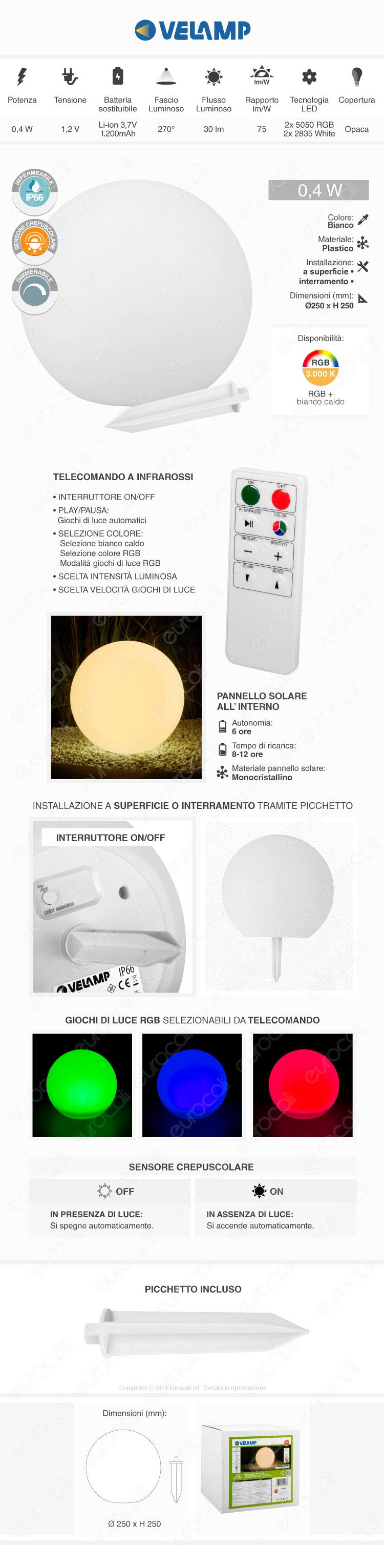 V-Tac VT-7815 Lampada Ovale con Luce LED RGB+W e Pannello Solare