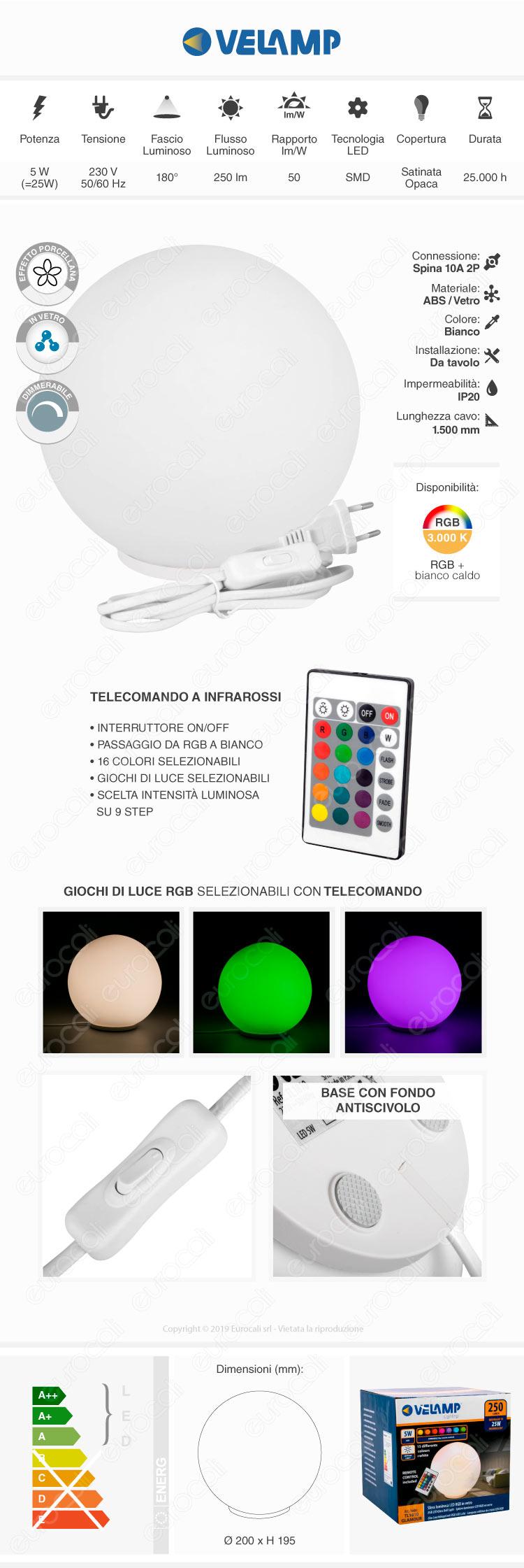 Velamp Lampada da Tavolo Glamour RGB+W 5W Multifunzione con Telecomando
