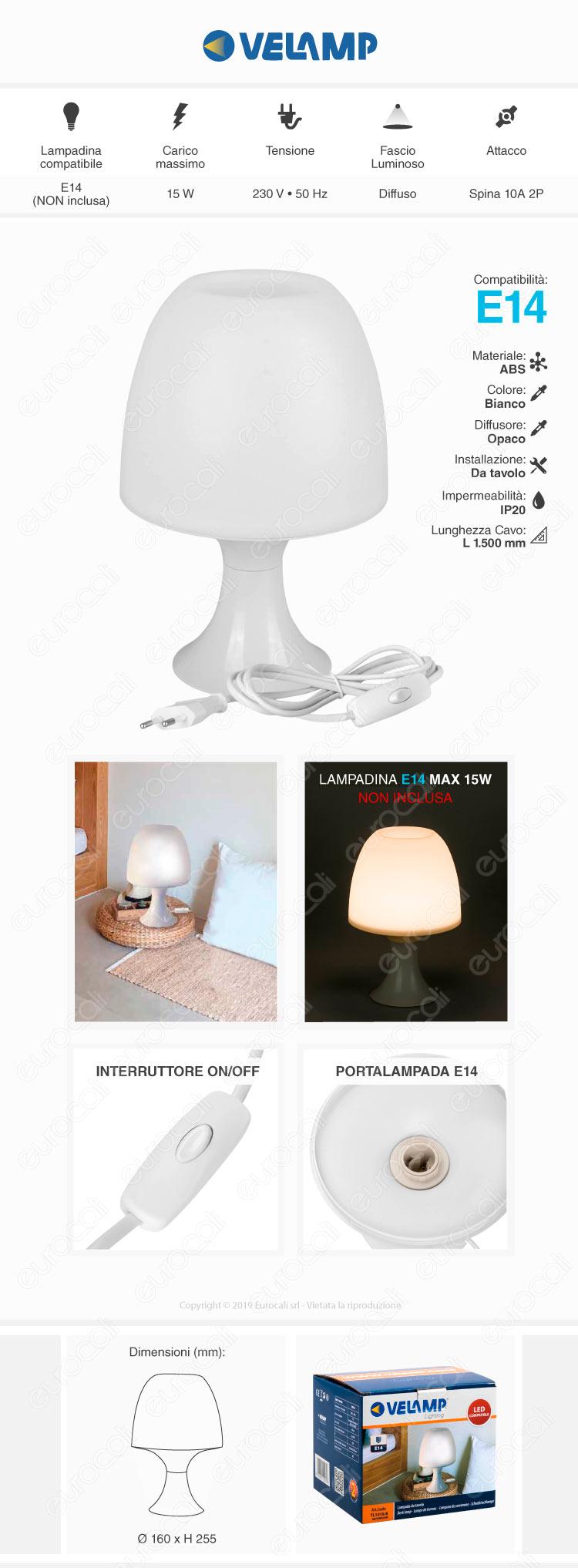 Velamp Lampada da Tavolo Mushroom con Portalampada per Lampadine E14