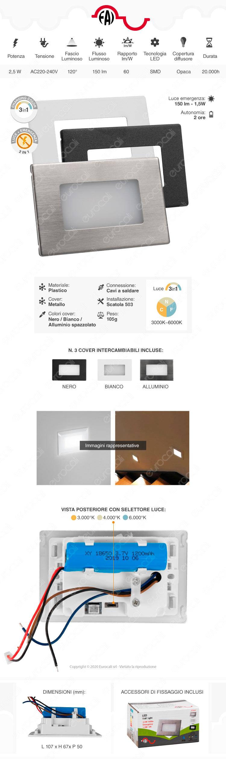 Faretto da incasso LED segnapasso