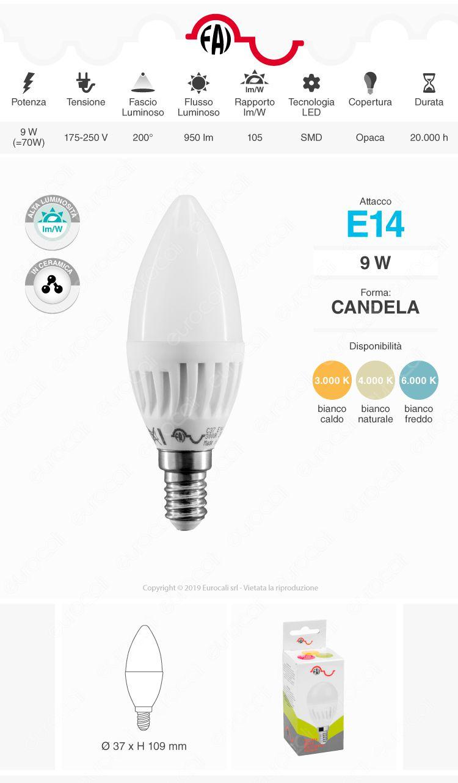 FAI Lampadina LED E14 9W Candela P45