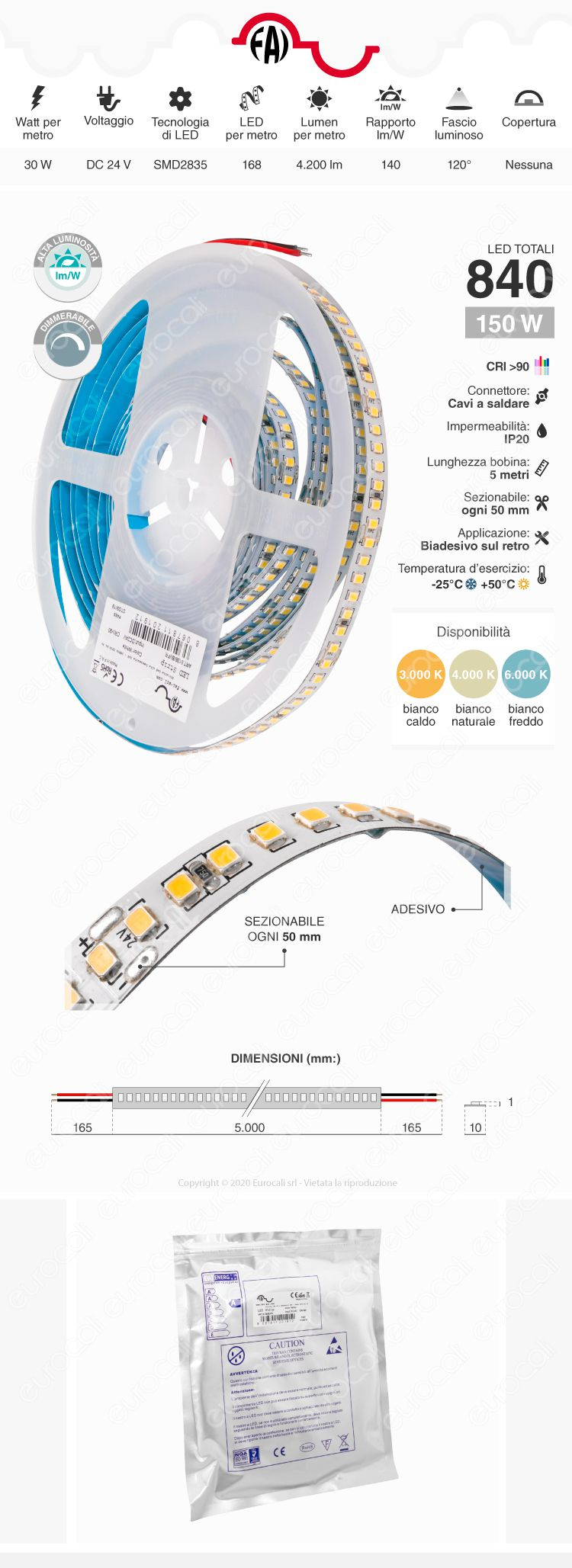 FAI Striscia LED Monocolore 168 LED/metro 24V CRI≥90