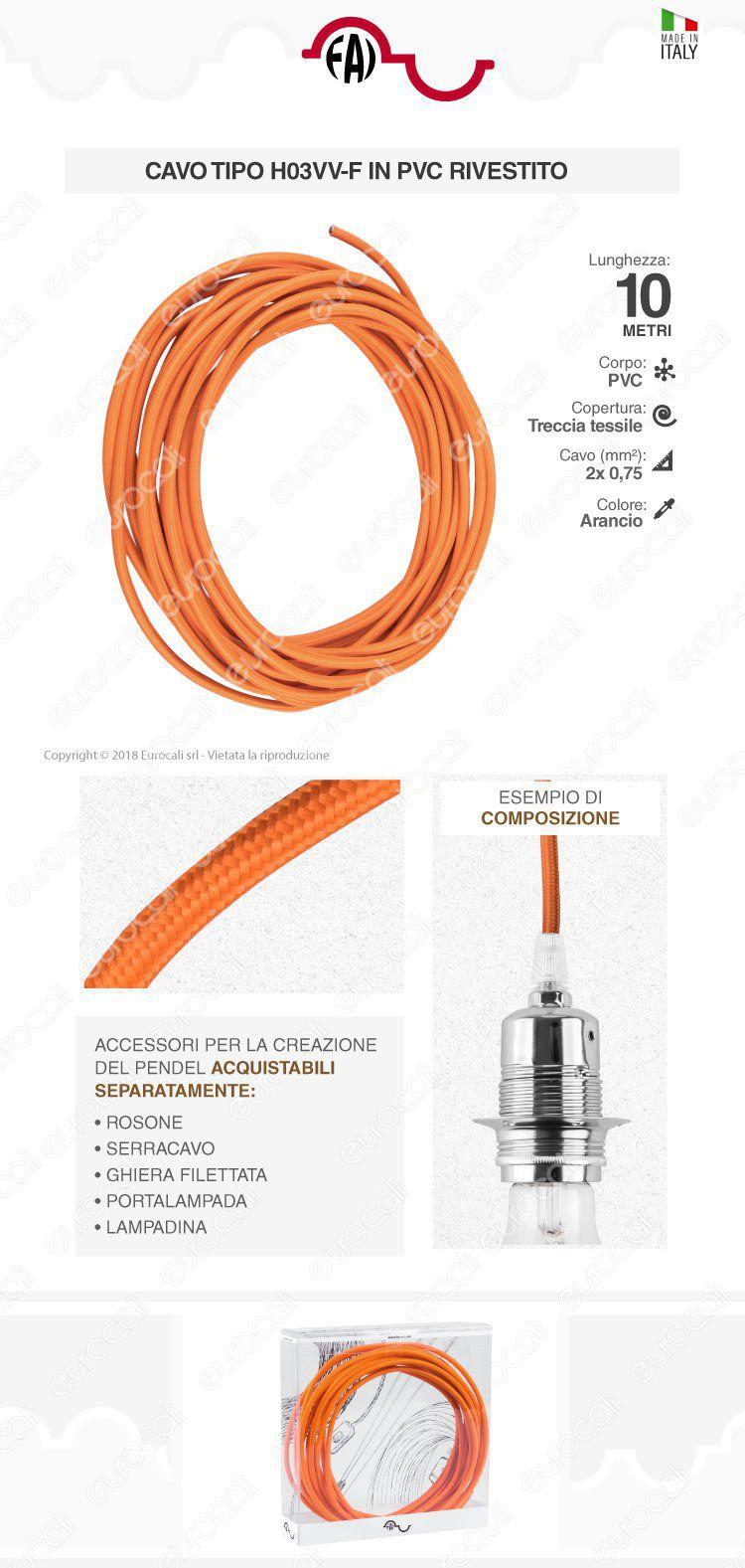 cavo elettrico corda FAI arancione
