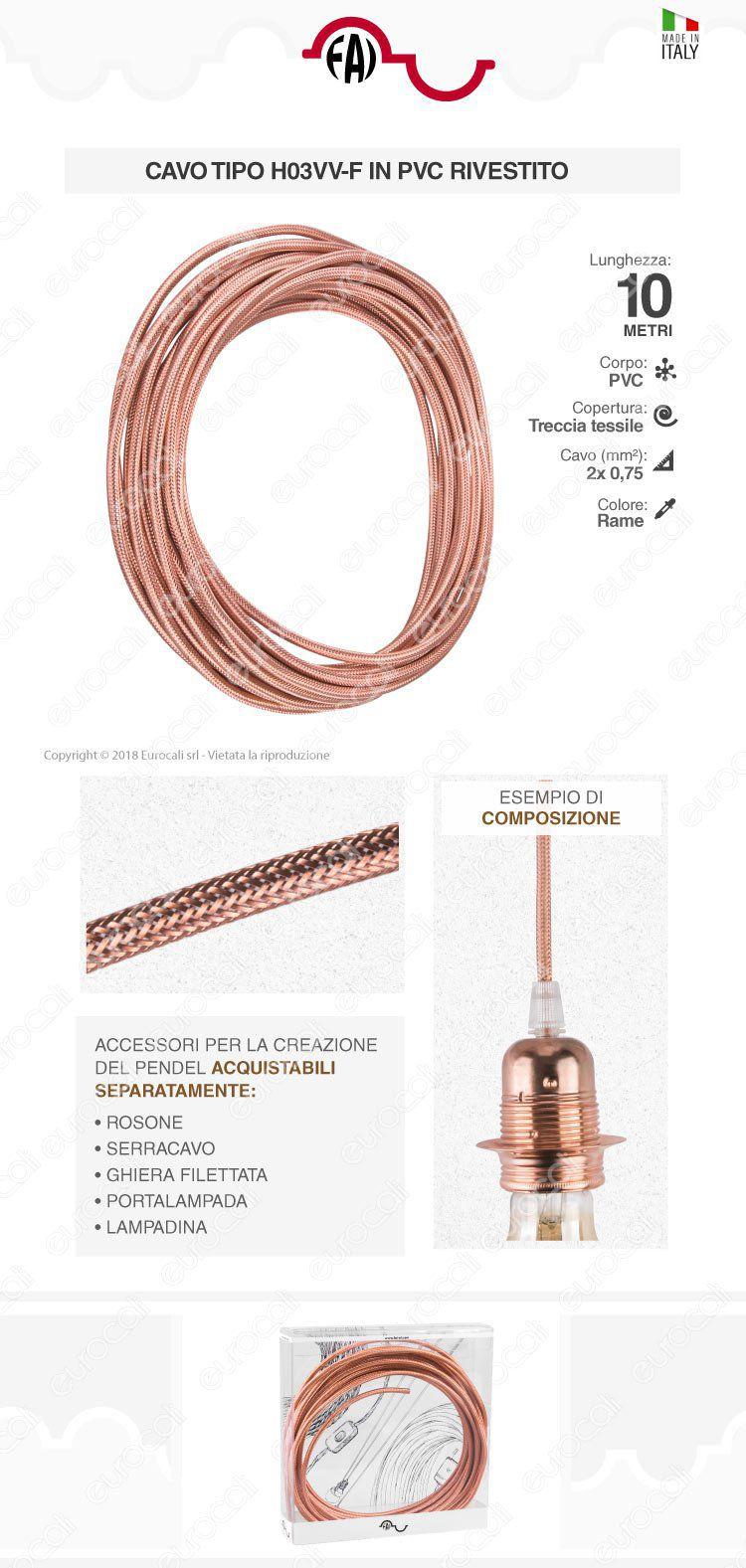 FAI Cavo di Collegamento Elettrico in Corda per Lampade di Design Colore Rame