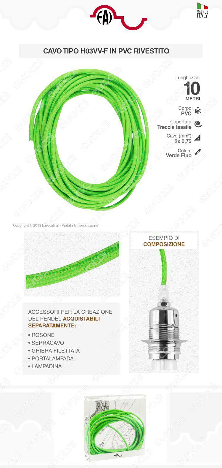 cavo elettrico corda FAI verde fluo lunghezza 10 metri
