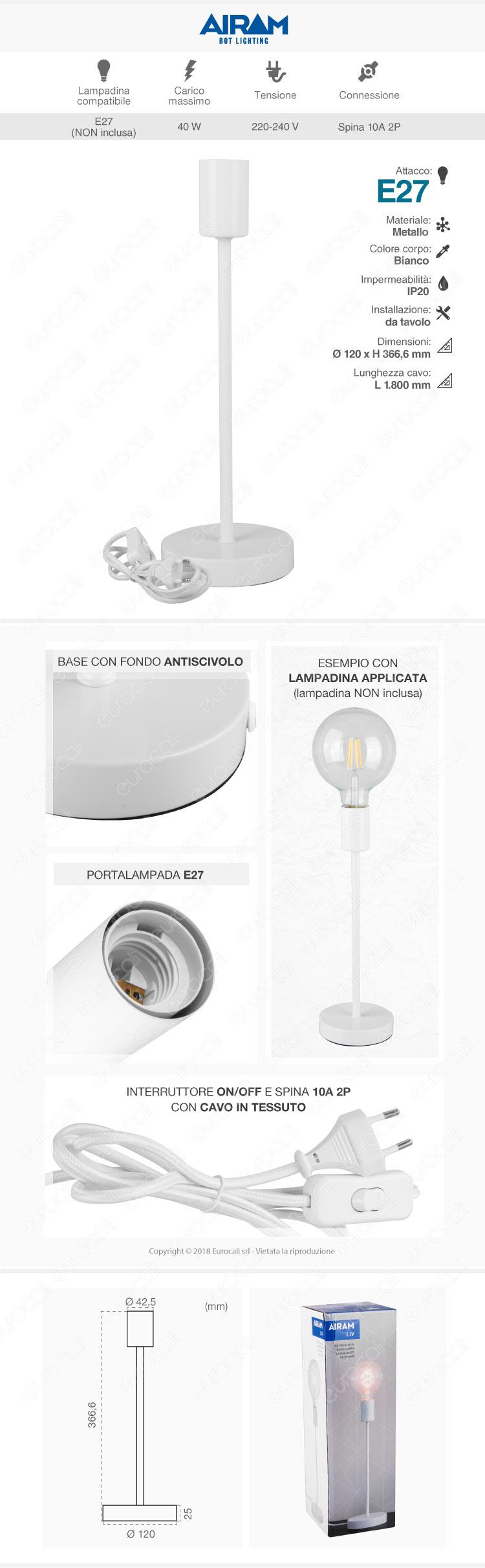 Airam Bot Lighting LIV Lampada da Tavolo con Portalampada per Lampadine E27 Bianco 36cm - mod. 4126244