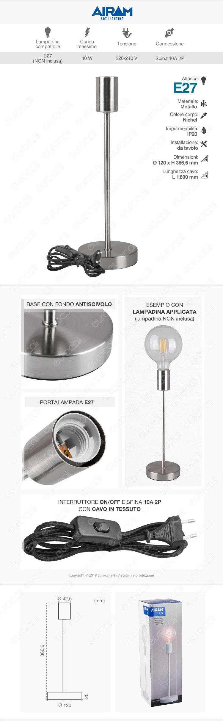 Airam Bot Lighting LIV Lampada da Tavolo con Portalampada per Lampadine E27 Colore Nichel 36cm - mod. 4126246