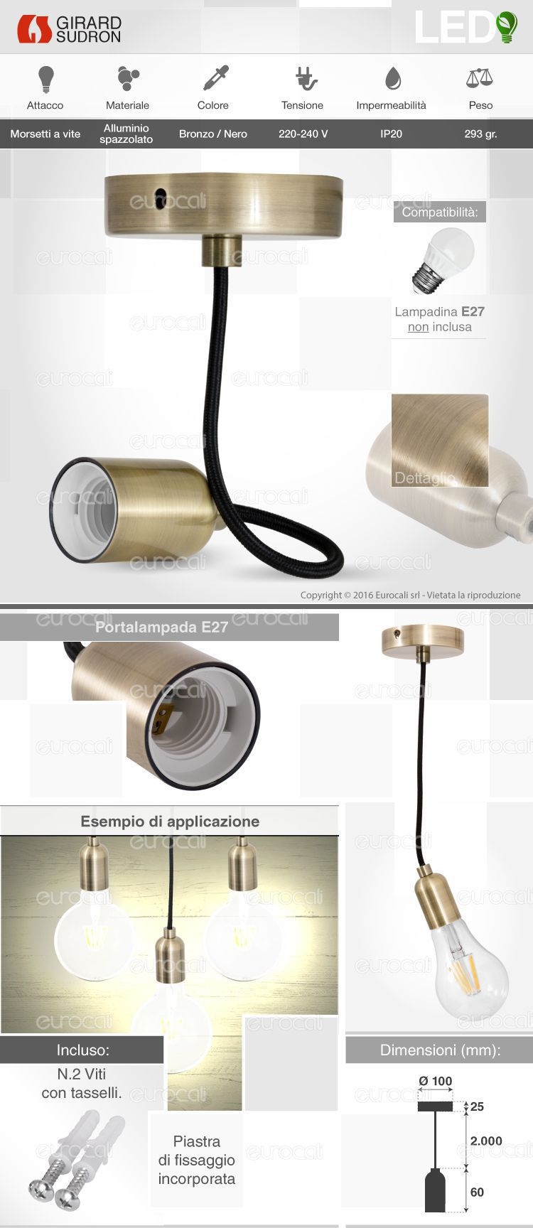 Porta lampada lampadario Girard Sudron