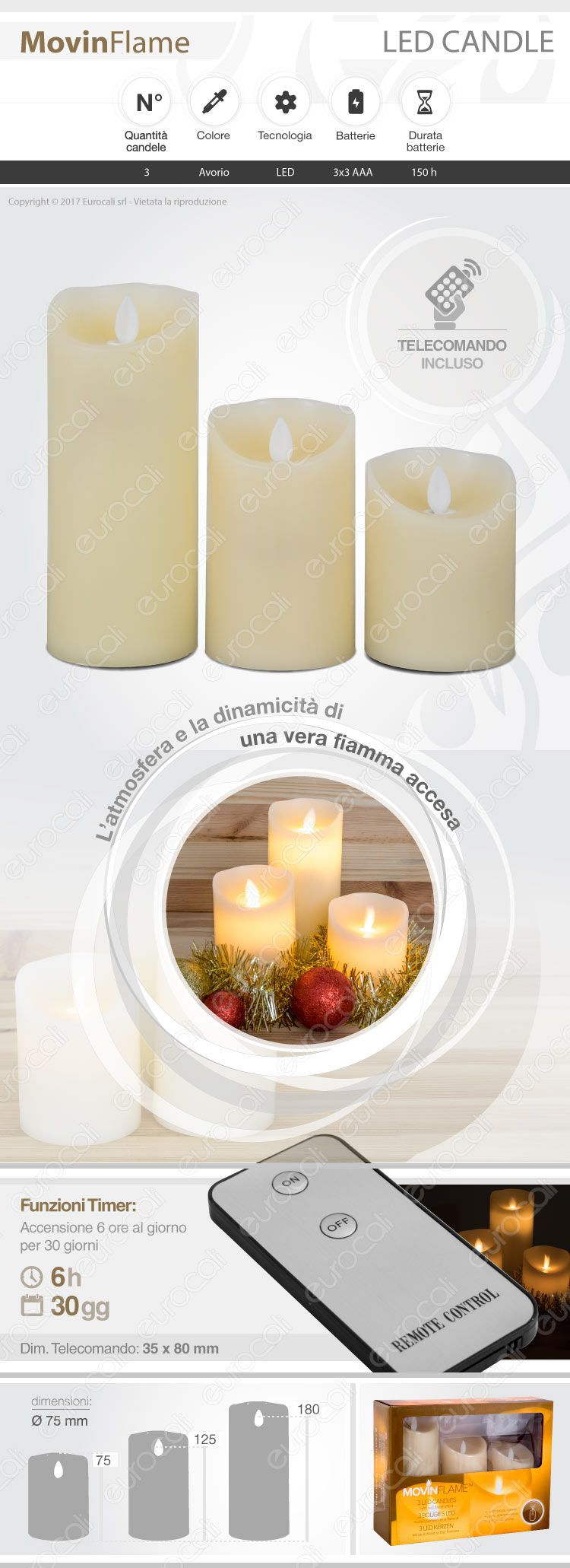 3 candele LED in cera
