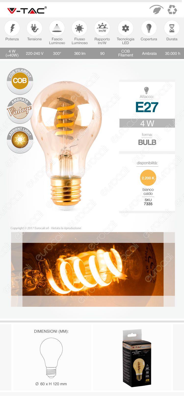 v-tac Lampadina LED E27 amber cob filament
