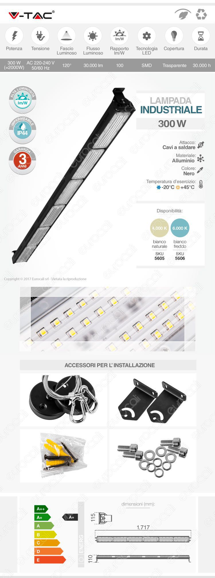 lampada industriale linear high bay