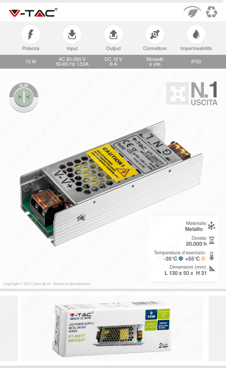 alimentatore IP20 75W V-Tac