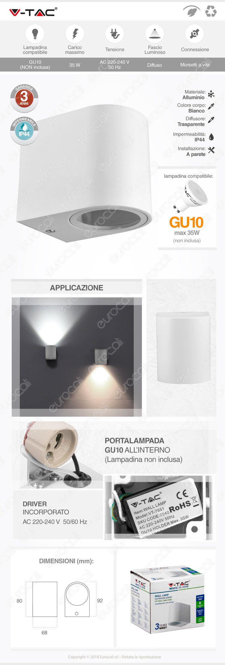wall light gu10 v-tac