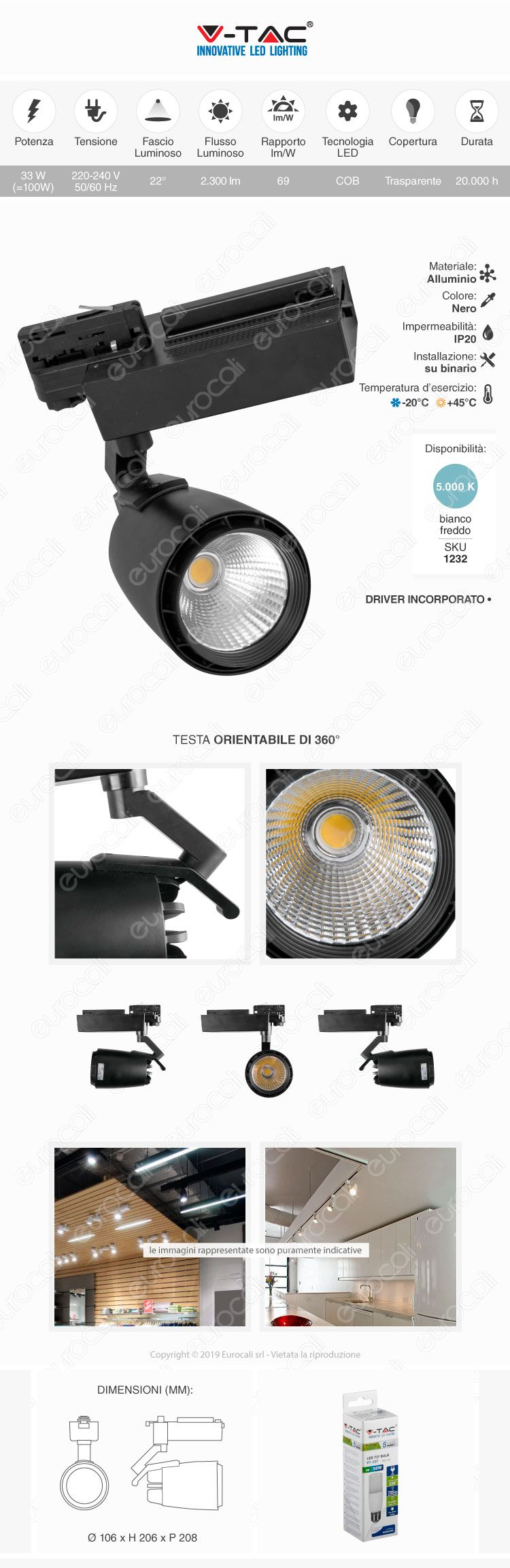 V-Tac VT-4534 Track Light LED COB 33W Colore Nero
