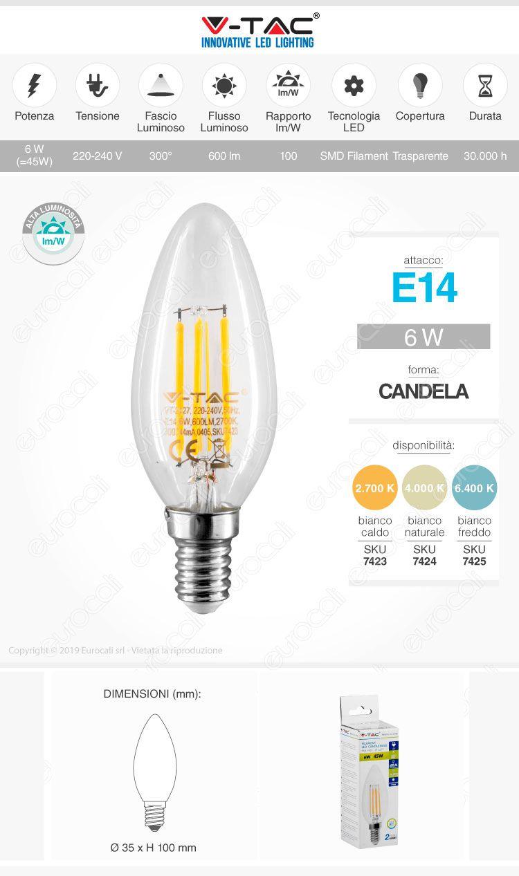 Lampadina LED E14 6W Candela