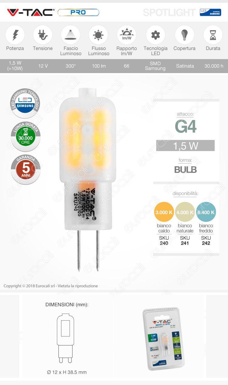 v-tac Lampadina LED G4