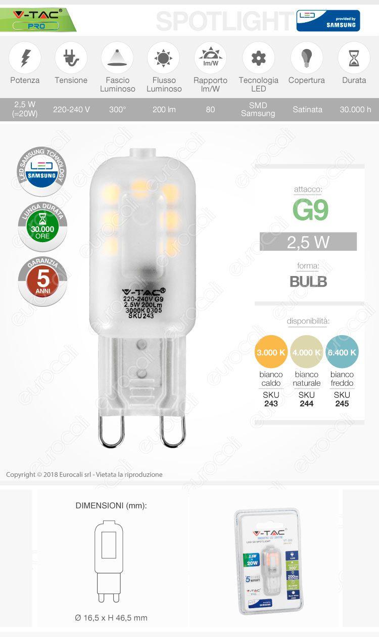 v-tac Lampadina LED G9