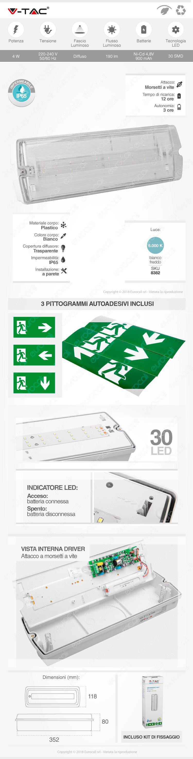 v-tac lampada d'emergenza