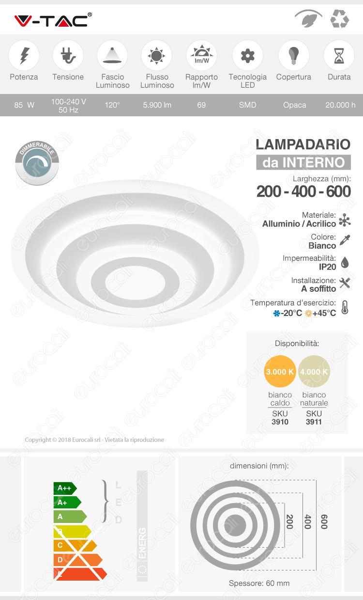 Lampadario V-Tac VT-85-3D 85W