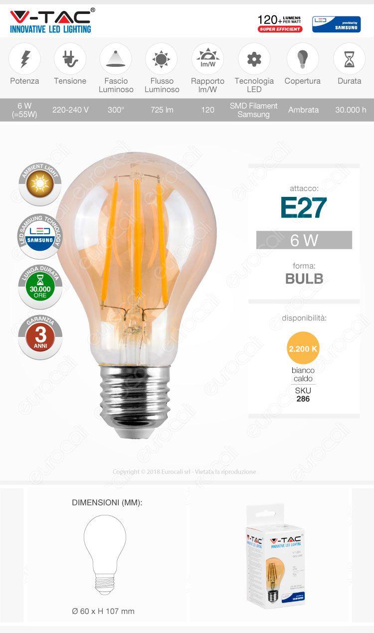V-tac VT-266 Lampadina LED E27 amber