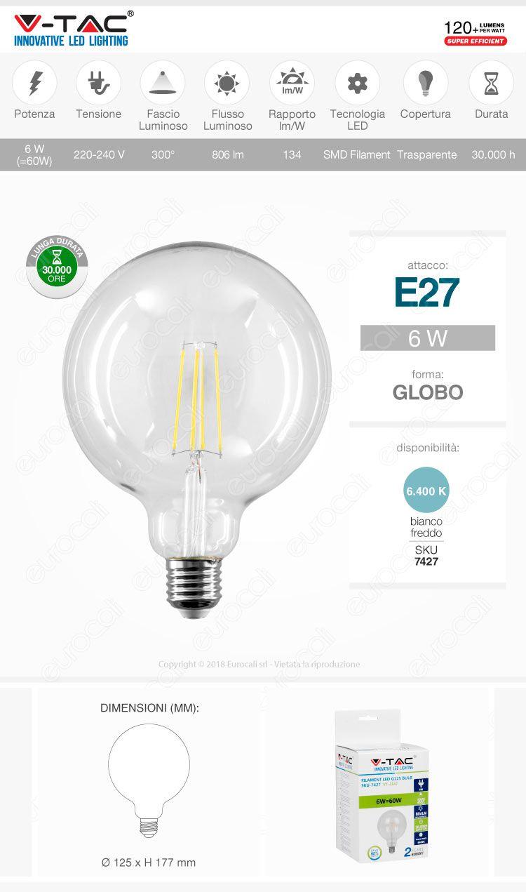 V-Tac VT-2147 Lampadina LED E27 6W Globo Chip Samsung