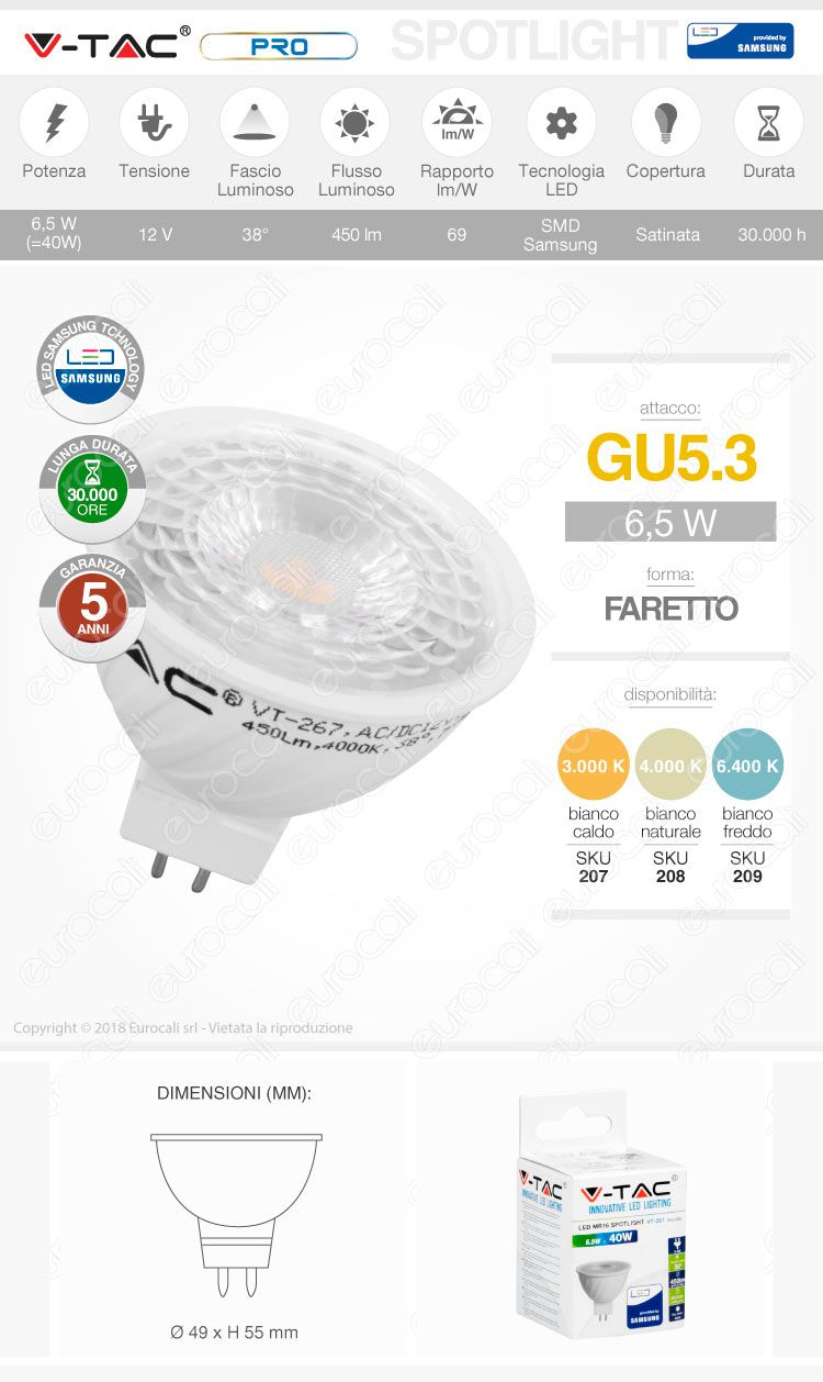 V-Tac PRO VT-267 Lampadina LED GU5.3 Chip Samsung