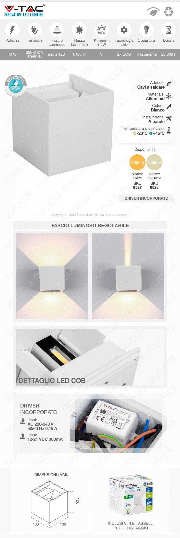 V-Tac VT-759-12 Lampada da Muro Wall Light Bianca con Doppio LED COB 12W
