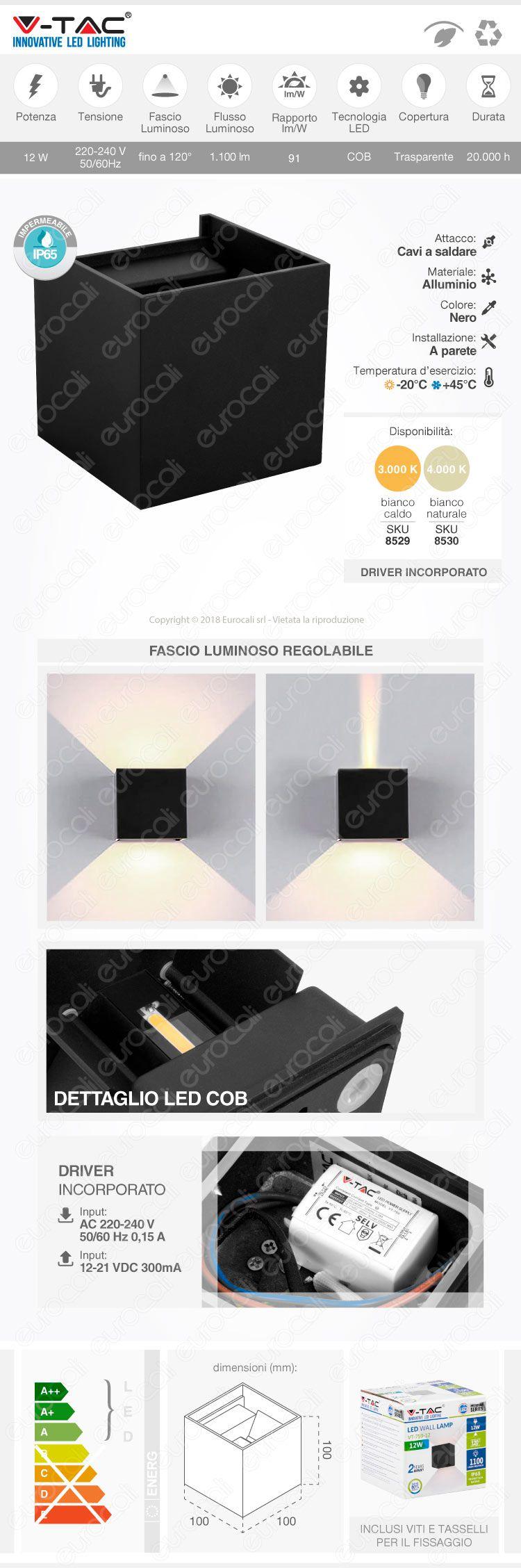 V-Tac VT-759-12 Lampada da Muro Wall Light Nera con Doppio LED COB da 12W
