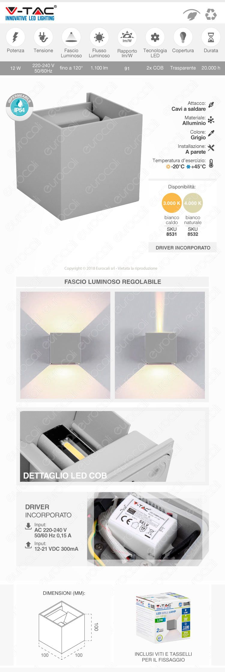 applique led da muro