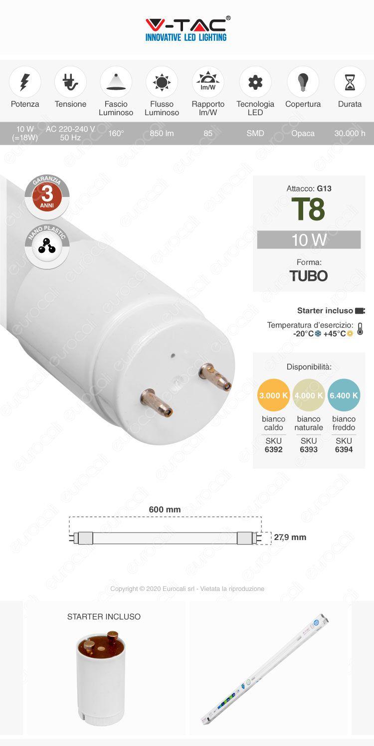 V-Tac VT-6072 Tubo LED SMD Nano Plastic T8 G13 10W Lampadina da 60cm