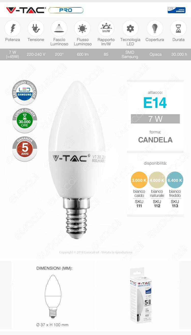 Lampadina LED E14 7W Candela Chip Samsung (V-Tac PRO VT-268)