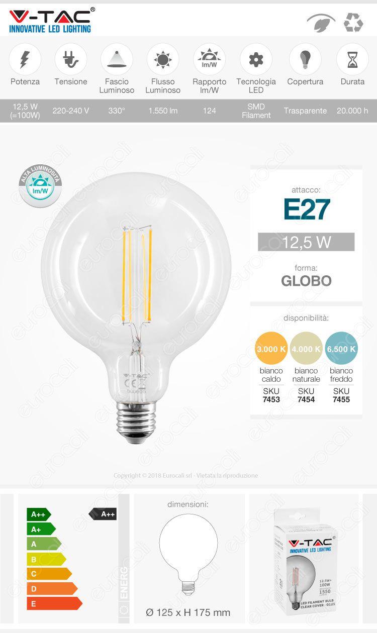 V-Tac VT-2143 Lampadina LED E27 Filament 12,5W Globo G125