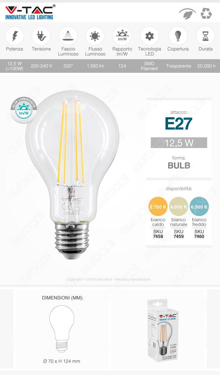 VT-2133 V-Tac Lampadina LED Filament E27 12,5W Bulb A70