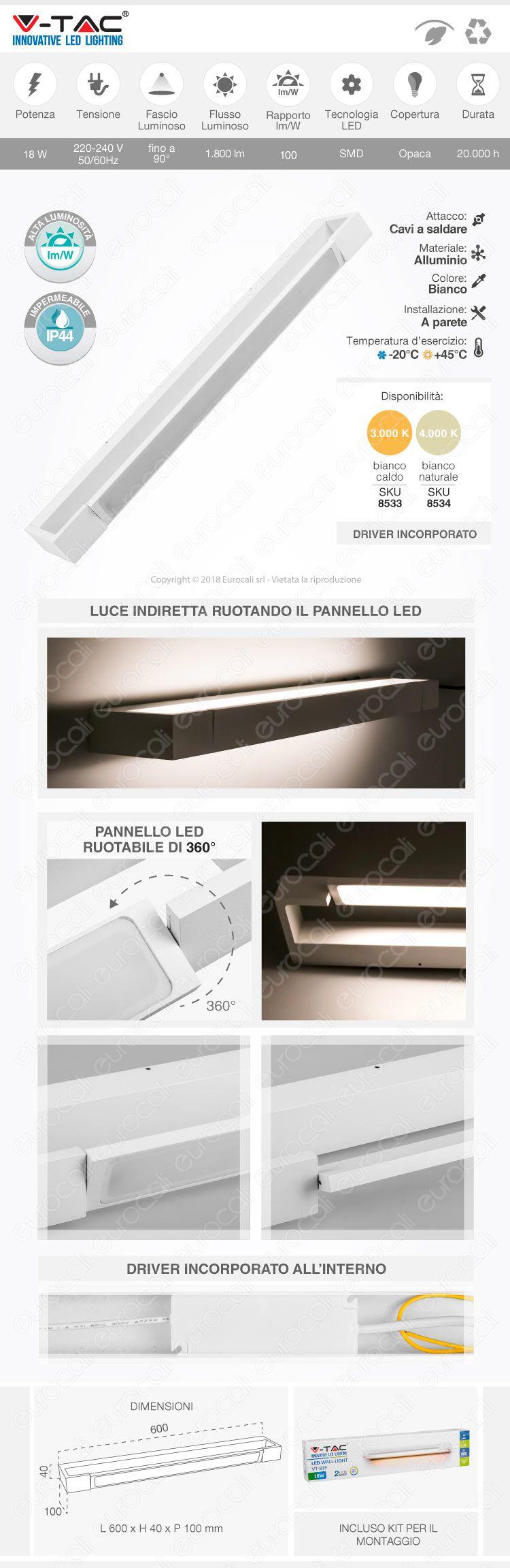 V-Tac VT-819 Lampada LED 18W da Muro con Fonte Luminosa Ruotabile di 360° Colore Bianco IP44 - SKU 8533 / 8534