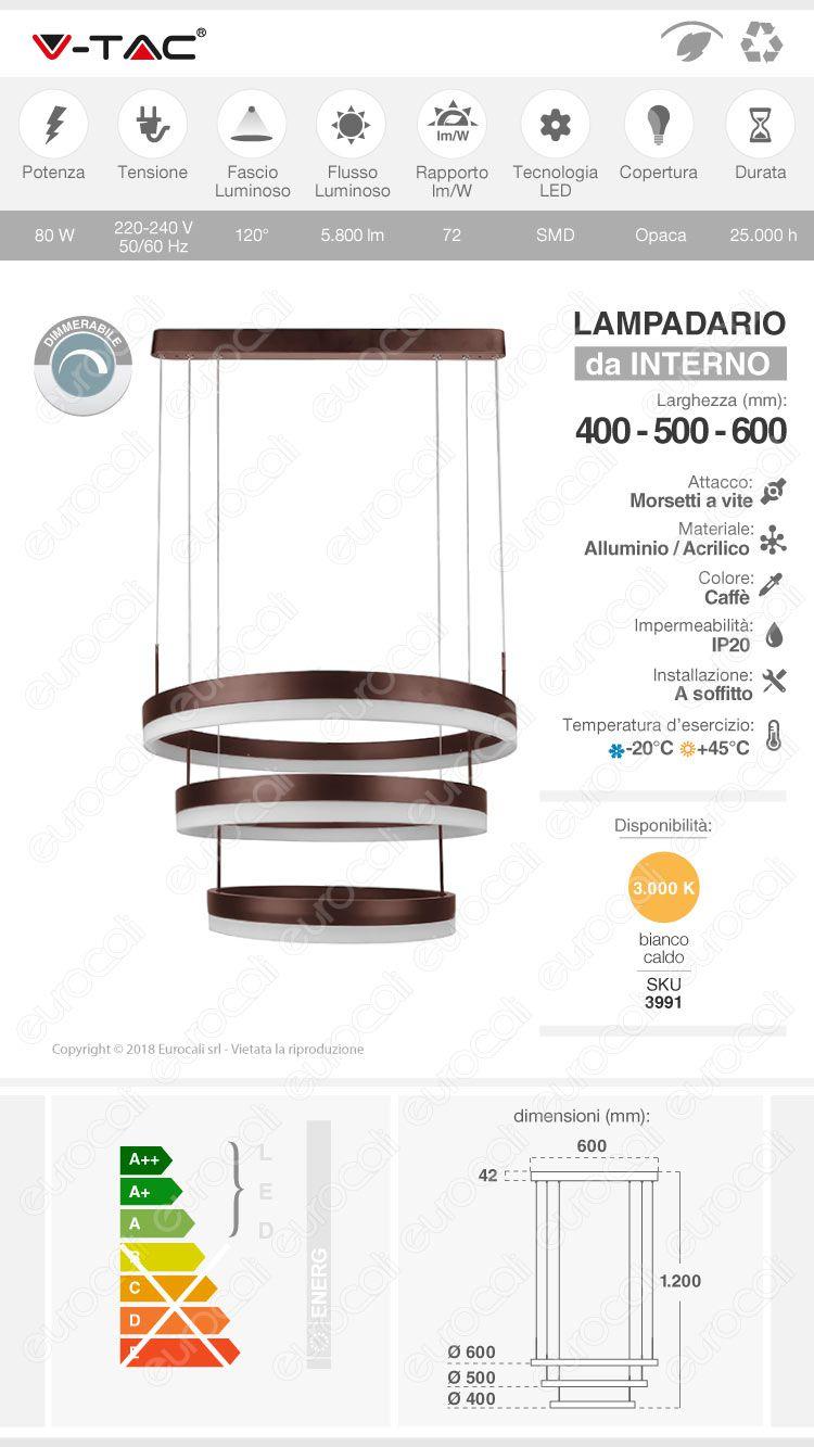 lampada led sospensione VT-82-3D 80W